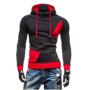Blusa Masculina em Moletom com Capuz - Cinza / Vermelha