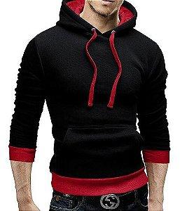 Jaqueta Blusa Masculina em Moletom com Capuz - Preta / Vermelha