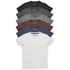 Kit com 6 - Camiseta Masculina Slim Fit Algodão Premium
