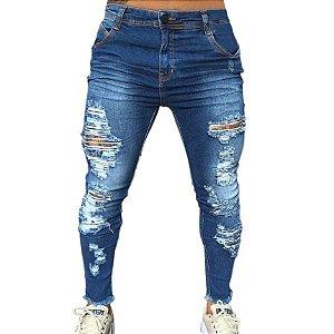 Calça Jeans Masculina Super Skinny Destroyed