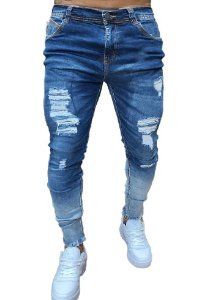 Calça Jeans Masculina Destroyed Super Skinny - Degradê