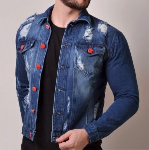 Jaqueta Jeans Masculina Destroyed Planet Mars