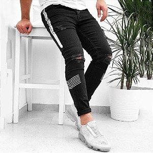 Calça Jeans Masculina Skinny Destroyed Preta