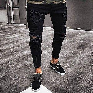 Calça Jeans Masculina Skinny Destroyed - Preta