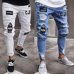 Calça Jeans Masculina Destroyed Skinny Patch