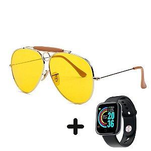 Óculos de Sol Vintage Aviador + Smartwatch Grátis