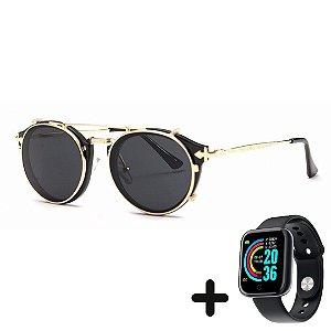 Óculos de Sol Vintage Retro + Smartwatch Grátis