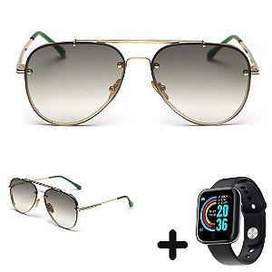 Óculos de Sol Aviador Clássico + Smartwatch Grátis