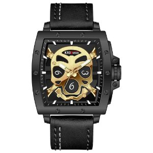 Relógio Masculino Pulseira em Couro Kademan Skull