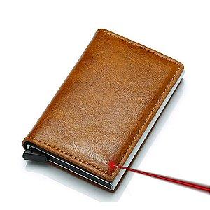 Carteira Super Slim em Couro RFID Protection com Nome Personalizável