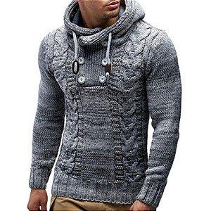 Blusa Masculina Slim Fit em Tricot com Capuz - Outlet