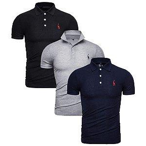 Kit com 3 - Camisa Polo Masculina GRF