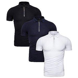 Kit com 3 - Camisa Polo Masculina GRF - Zíper