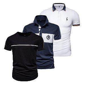 Kit com 3 - Camisa Polo Masculina GRF + Camiseta Básica GRF