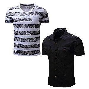 Kit com 1 Camisa Manga Curta + 1 Camiseta Gola V - Fredd Marshall