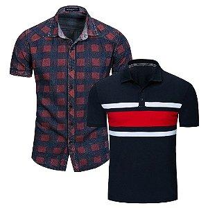 Kit com 1 Camisa Xadrez + 1 Camisa Polo Fredd Marshall
