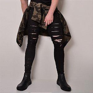 Calça Jeans Masculina Destroyed Skinny Splash Preta