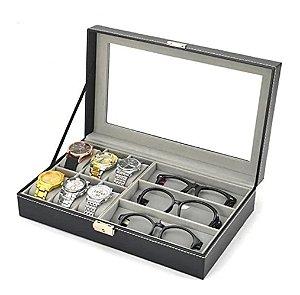 Maleta Estojo Porta Relógios e Óculos - Caixa para 9 Relógios e 3 Óculos