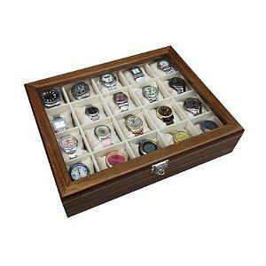Maleta Estojo Porta Relógios Cerejeira - Caixa para 12 relógios