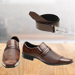 Sapato Social Masculino San Lorenzo + Cinto de Brinde