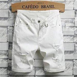Bermuda Jeans Skinny Destroyed - Preta ou Branca