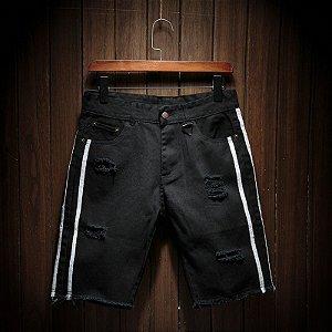 Bermuda Jeans Skinny Destroyed - Faixas Laterais
