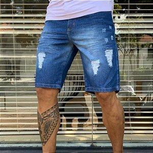 Bermuda Jeans Skinny Destroyed - Azul Escuro