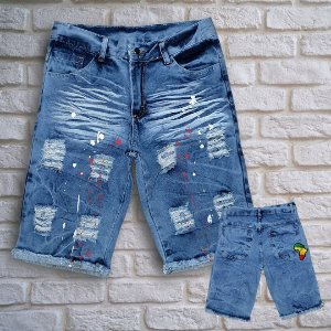 Bermuda Jeans Skinny Destroyed Splash África