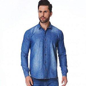 Camisa Jeans Masculina Manga Longa Theo