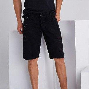 Bermuda Jeans Masculina Destroyed Victor - Preta