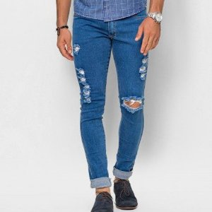 Calça Jeans Masculina Slim Destroyed
