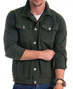 Jaqueta Jeans Masculina Verde Militar