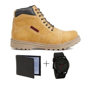 Kit com Bota Coturno Amarela + Carteira + Relógio