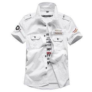 Camisa Masculina de Manga Curta - Militare - 100% Algodão
