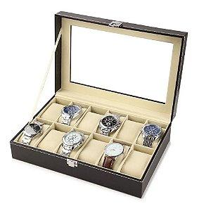 Maleta Estojo Porta Relógios - Caixa para 12 relógios