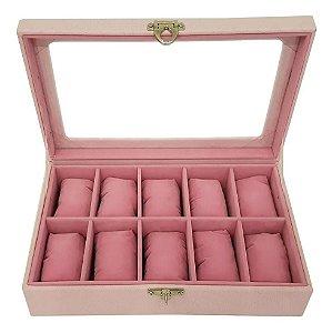 Maleta Estojo Porta Relógios Rosa - Caixa para 10 relógios