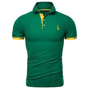 Camisa Polo GRF Verde e Amarela - Outlet - Tamanho P