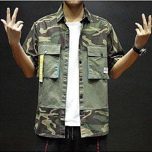 Camisa Masculina Streetwear Manga Curta Militar Camuflada