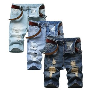 Kit com 3 Bermudas Jeans Masculinas - Destroyed ou Normal