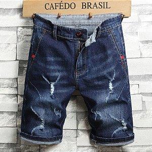 Bermuda Jeans Skinny Destroyed Premium Azul