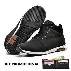 Kit - 1 Tênis Botinha Cano Alto Masculino + Carteira em Couro