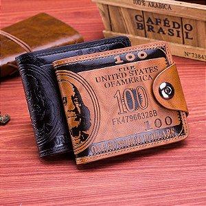 Kit com 2 Carteiras Masculinas em Couro USA Dollar