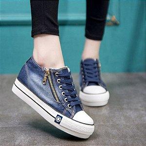 Tênis Feminino Plataforma All Jeans Star Zíper