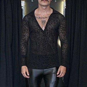 Camisa Masculina em Renda Transparente