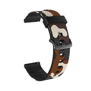 Pulseira em Silicone Camuflada 22mm de Largura para Relógios
