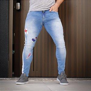 Calça Jeans Masculina Skinny Patches Europe