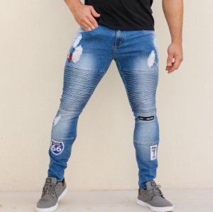 Calça Jeans Masculina Skinny Patches American Biker