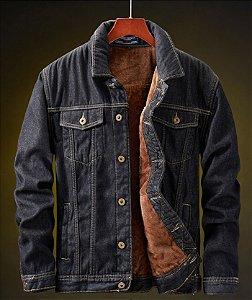 Jaqueta Jeans Masculina Preta Forrada