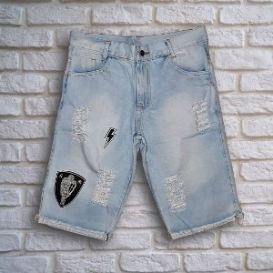 Bermuda Jeans Skinny Destroyed Patches