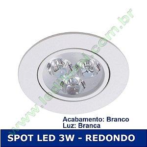 Spot Super Led 3W Redondo embutir Luz Branca - Ledilumi